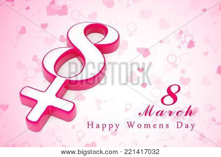 March 8 background template. International womans day greeting card, 8 march international women's day background . 3d render