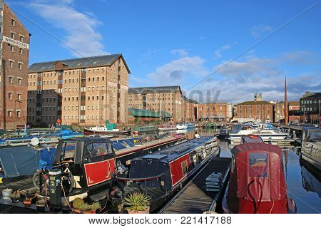 Narrow boats moored in Gloucester Dock canal basin