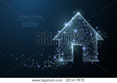 Home symbol. Polygonal wireframe mesh icon with crumbled edge on blue night sky with dots, stars and looks like constellation. Dream house, home page or other concept illustration or background