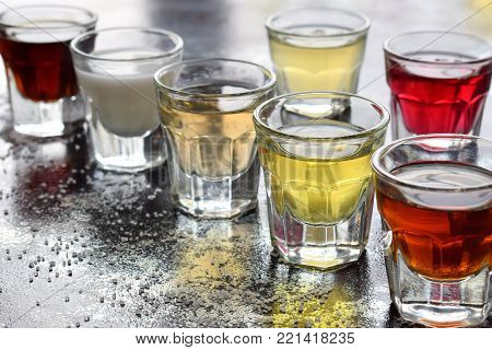 Selection Of Alcoholic Drinks. Set Of Wine, Brandy, Liqueur, Tincture, Cognac, Whiskey In Glasses. L