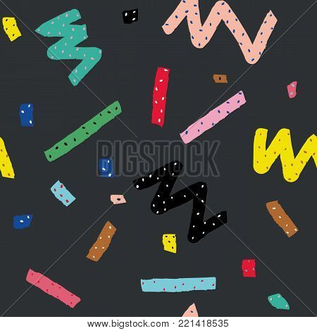 Hand drawn vector seamless pattern in memphis style with colorful stripes, zigzag and blobs on dark grey background for textile design, paper, branding