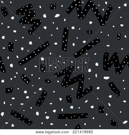 Hand drawn vector seamless pattern in memphis style with stripes, zigzag and blobs on dark grey background for textile design, paper, branding