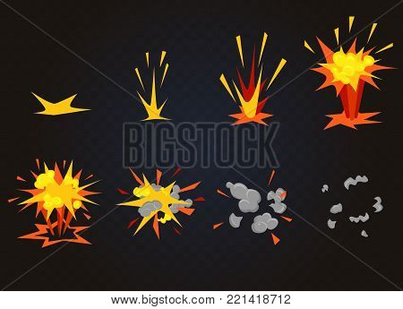 Vector cartoon boom explosion effect with smoke. Flash explode animation for game