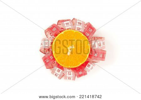 Picture of orange and measure tape on the white background