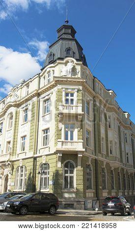 SOFIA, BULGARIA - OCTOBER 08, 2017: bank of Sofia, landmark of architecure of modern style,  built in 1918 year.