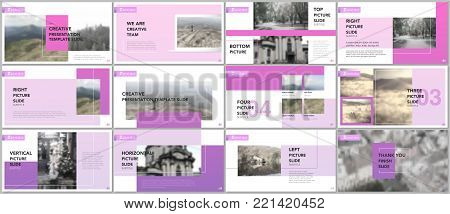 Clean and minimal presentation templates. Purple color elements on white background. Brochure cover vector design. Presentation slides for flyer, leaflet, brochure, report, marketing, advertising, banner.