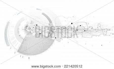 Abstract tech design background. Engineering technology wallpaper made with lines, dots, circles. Futuristic technology interface on white background. Digital technology concept, vector illustration