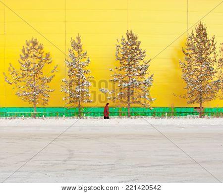 Minimalism in Perm city. So beautiful. Yellow wall.