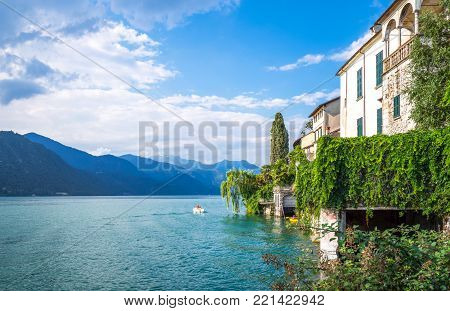 Orta San Giulio, Italy - August 18, 2013:  View of the lake from San Giulio Island