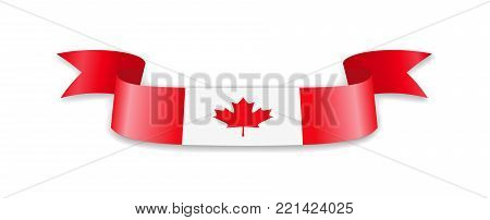Flag of Canada in the form of wave ribbon. Vector illustration.