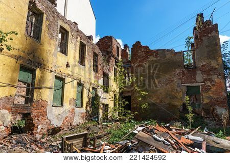 Ruined house building after disaster, war, earthquake, Hurricane or other natural cataclysm, toned