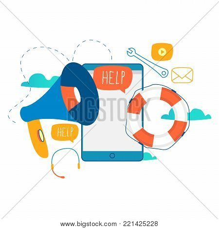 Customer service, customer assistance, call center flat vector illustration. Technical support, online help concept for web banner, business presentation, advertising material