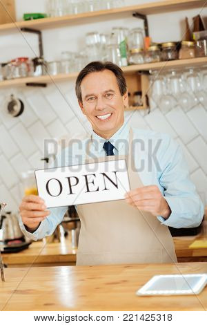 Lets work. Joyful satisfied rejoiced man in a pinafore standing in the kitchen holding the plate and smiling.