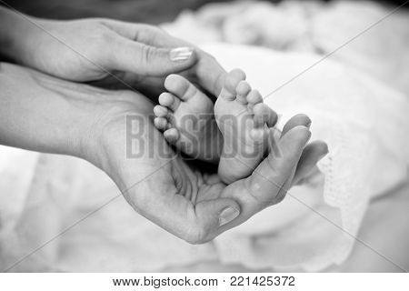 Small newborn baby legs in mothers lovely hand with soft focus on babie's foot. Parent holding in hands feet of newborn baby. Black and white photography.