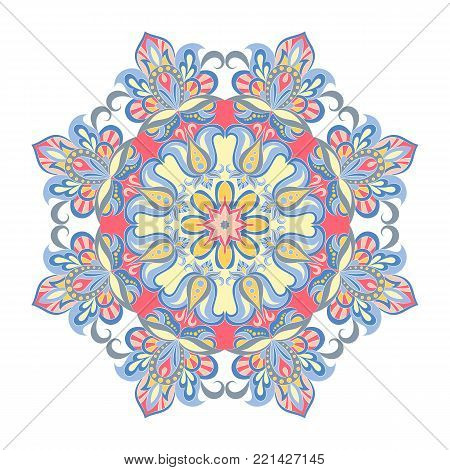 Vector Mandala ornament. Vintage decorative elements. Oriental round pattern. Islam, Arabic, Indian, turkish, pakistan, chinese, ottoman motifs. Hand drawn floral background.