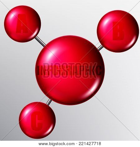 Vector molecules or particles with bonds. Infographics.