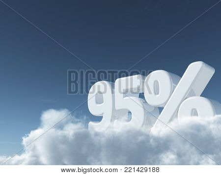 number ninety-five and percent symbol in the sky - 3d rendering