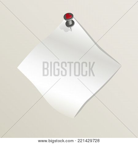 White sticky empty note attached to a wall by a drawing pin with red heart image. Sheet of paper without text. Happy Valentine's day. Concept of love and romance. Vector illustration EPS10.