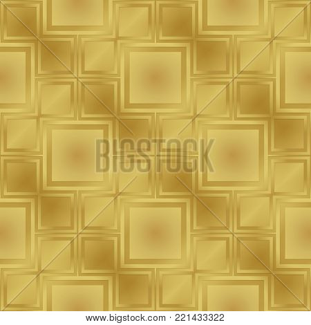 Gold metallic regular seamless pattern.  Metal foil with pattern. Glossy metal surface. Shiny metal. Gold metallic regular seamless pattern. Shiny metallic sufrase.