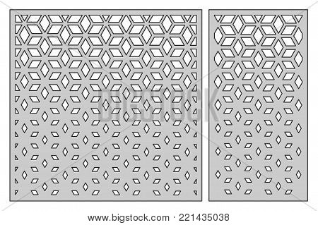 Set template for cutting. Square mesh pattern. Laser cut. Ratio 1:1, 1:2. Vector illustration.