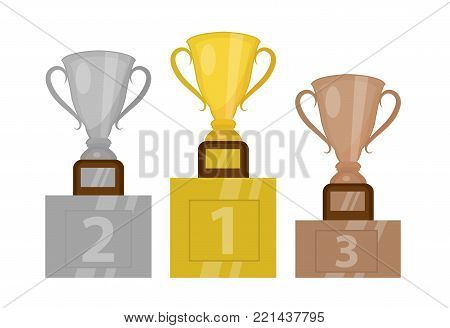 Gold Cup champion on the pedestal, the first place. Winner's podium with gold, silver and bronze trophy. Isolated on white background. Vector illustration