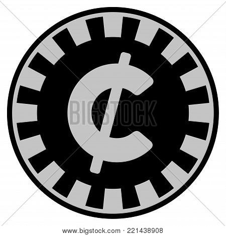 Cent black casino chip icon. Vector style is a flat gambling token symbol designed with black and light-gray colors.