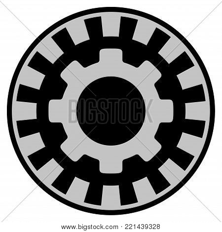 Gear black casino chip pictogram. Vector style is a flat gambling token symbol designed with black and light-gray colors.