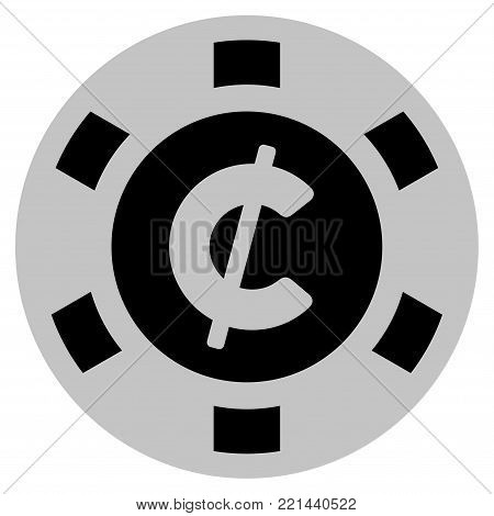 Cent black casino chip icon. Vector style is a flat gamble token symbol designed with black and light-gray colors.