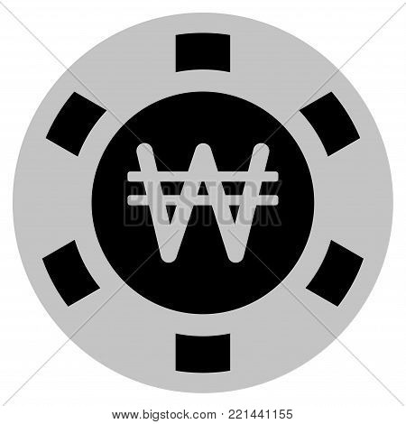 Korean Won black casino chip pictogram. Vector style is a flat gambling token item designed with black and light-gray colors.