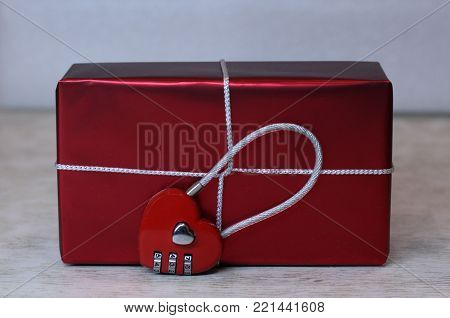 gift box with lock in form of heart with combination lock for Valentine's Day