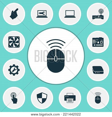 Gadget icons set with defense, wrench, pointer and other mainframe elements. Isolated  illustration gadget icons.