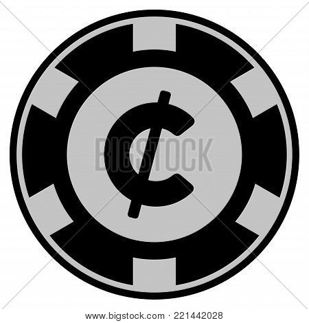 Cent black casino chip icon. Vector style is a flat gambling token item designed with black and light-gray colors.