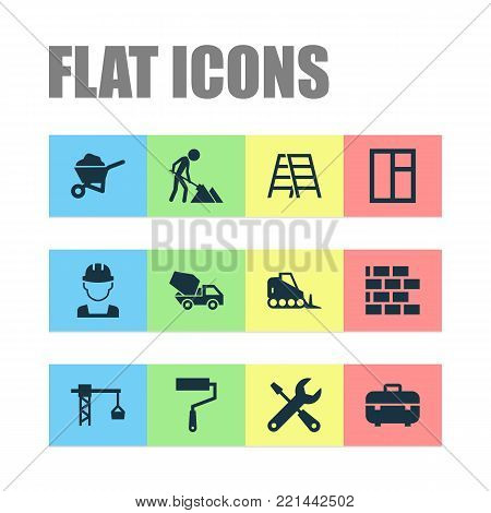 Construction icons set with cement vehicle, wall, lifting hook and other lifting hook elements. Isolated  illustration construction icons.