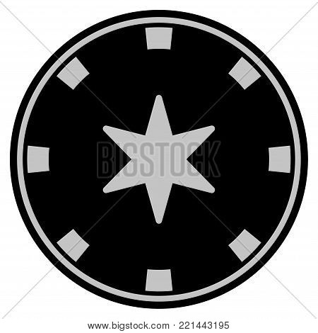 6-Finger Star black casino chip pictogram. Vector style is a flat gamble token item designed with black and light-gray colors.