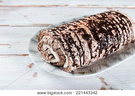 Belgian Chocolate Meringue Roulade