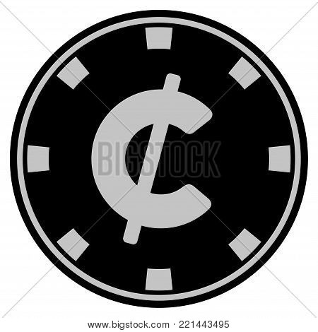 Cent black casino chip icon. Vector style is a flat gamble token item designed with black and light-gray colors.
