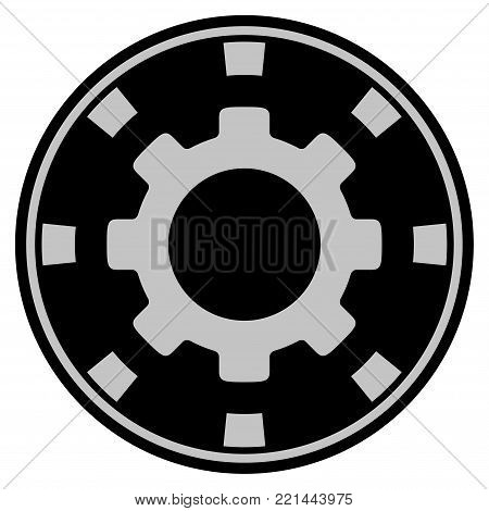 Gear black casino chip pictograph. Vector style is a flat gambling token item designed with black and light-gray colors.