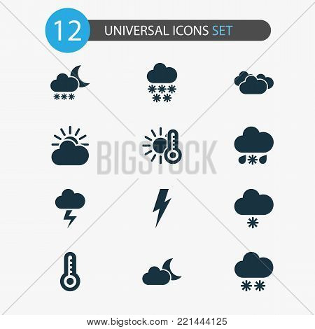 Weather icons set with lightning, night, gray and other moonlight elements. Isolated  illustration weather icons.