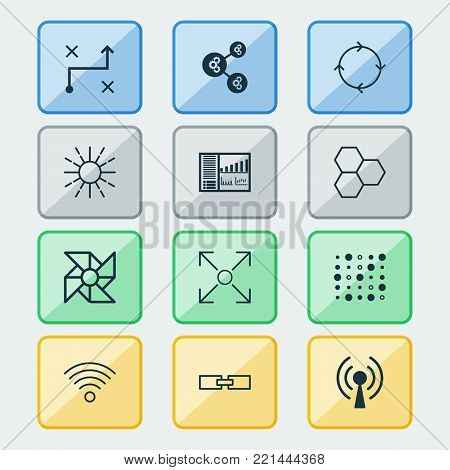 Learning icons set with variable architecture, branching program, controlling board and other branching program  elements. Isolated  illustration learning icons.