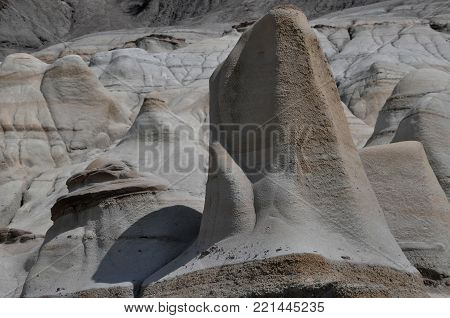 Hoodoo Rock Formations in Summer near Drumheller, Alberta