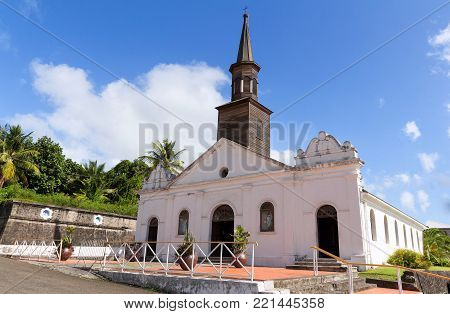 The Saint Thomas church , Diamant city, Martinique island, French West Indies.