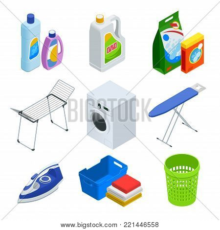 Isometric laundry service set. Laundry with washing machine and ironing board, household products, clothes, iron, facilities for washing, washing powder and basket. Flat vector illustration.