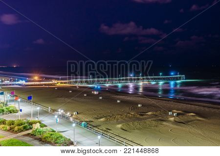 Virginia Beach Fishing Pier and Boardwalk, Virginia Beach at night, Virginia, USA