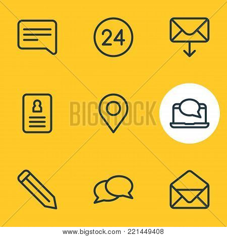 Vector illustration of 9 connect icons line style. Editable set of pencil, correspondence, resume and other elements.