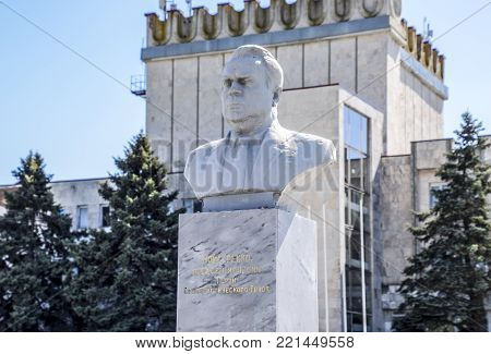 Octyabrsky, Russia - April 24, 2017: Bust of Maistrenko. Construction of the Soviet era. Monument to the former chairman of the collective farm. Krasnodar Krai, Krasnoarmeisky District.