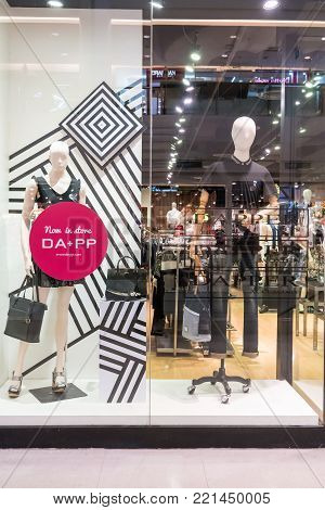 Dapper dp shop at Seacon square, Bangkok, Thailand, Oct 26, 2017 : Fashionable clothing brand window display. Collection of casual clothings and accessories.