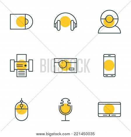 Vector illustration of 9 accessory icons line style. Editable set of cursor controller, photography, dvd drive and other elements.