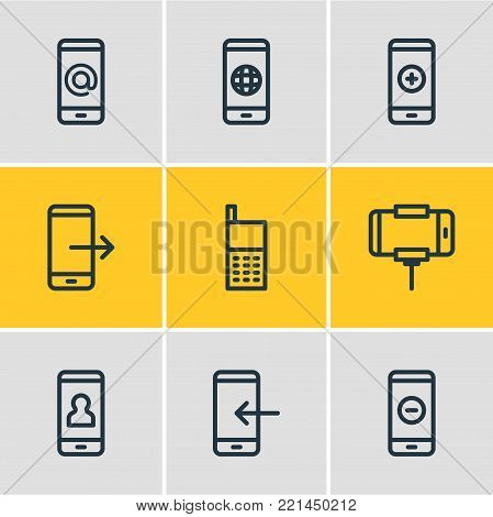 Vector illustration of 9 telephone icons line style. Editable set of inbox, minus, worldwide and other elements.