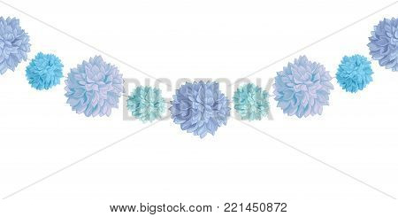 Vector Hanging Blue Bay Boy Birthday Party Paper Pom Poms Set Horizontal Seamless Repeat Border Pattern. Great for handmade cards, invitations, wallpaper, packaging, nursery designs. Party decor.