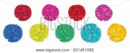 Vector Set of Fun Colorful Birthday Party Paper Pom Poms. Great for handmade cards, invitations, wallpaper, packaging, nursery designs. Party decor.